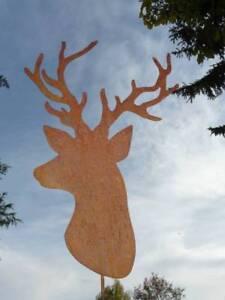Gartenstecker Weihnachten.Details Zu Hirsch Edelrost Topfstecker Groß 50 Cm Gartenstecker Weihnachten Rost Metall