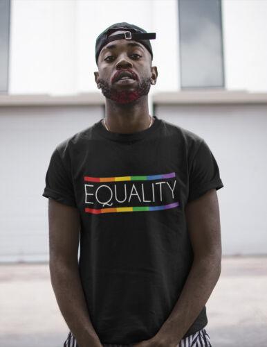 Mens ORGANIC Cotton T-Shirt Equality LGBT Pride GAY Rainbow Festival Mardi Gras