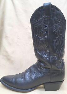 Justin cowboy boots .. Black leather .. Men's US 9 D