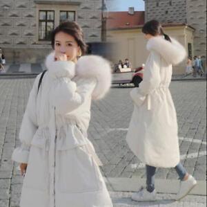 Hooded Chic S Winter Parka Allentato imbottito xl Womens Warm Trim Corea Long Fur Coats X7XArqgw