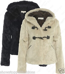 Faux Fur Coat New Womens Hooded Jacket Cream Size 8 10 12