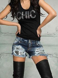 By-Alina-Damenjeans-Jeans-Hot-Pants-Pailletten-Jeanshose-Hotpants-Shorts-Blau
