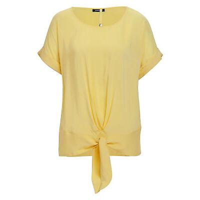 MORE & MORE Damen Knot-Bluse in gelb Blusen lange Bluse Viskosebluse geknotet...