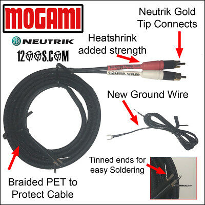 White Color Code 5FT Mogami with Neutrik Rean Gold Phono RCA Cable Red