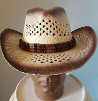 Cowboy Hat W/ Band Adult Wrangler Rodeo Western Brown One Size Sun 4 Styles