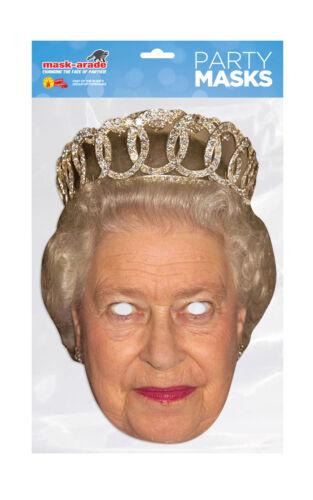 Queen Elizabeth Crown Face Party Mask Card Fancy Dress Royal Family A4 Kids UK