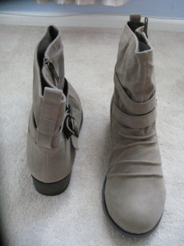 NEW Dorothy Perkins Beige Taupe Suede Effect Ankle Flat Boots sizes 3-£45.00