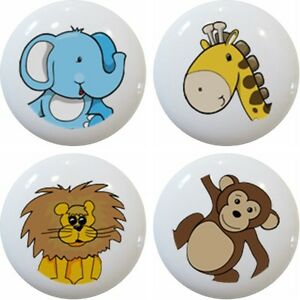 Image Is Loading 4 Jungle Safari Zoo Animal Head Drawer Pulls