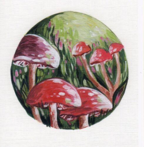 Red champignons autocollant vinyle art autocollant pour ordinateur portable tablette carreau décoration maison