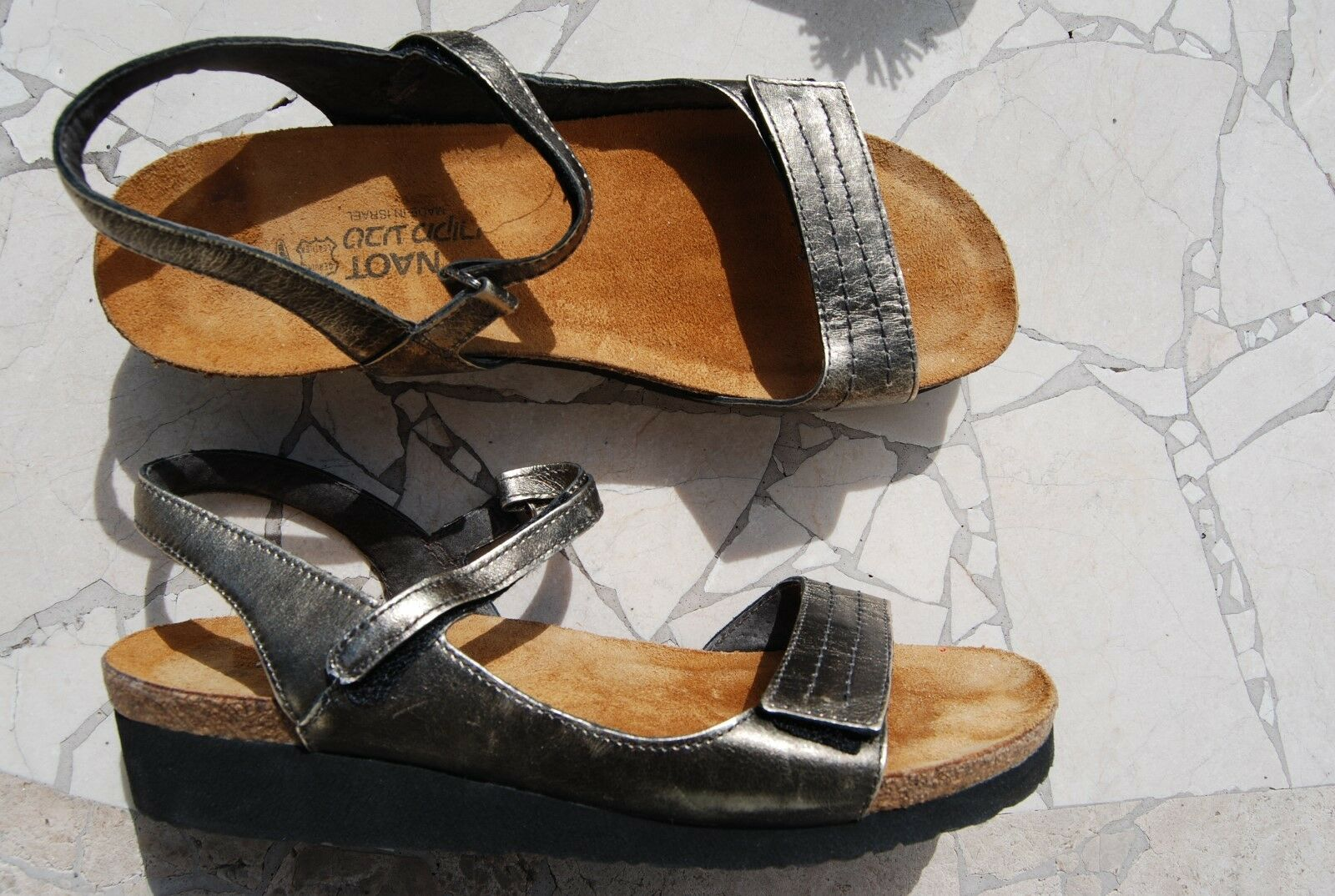 Dark Pewter Slingback Leather NAOT Open Toe Strappy Slingback Pewter Sandals US 11 b26c49