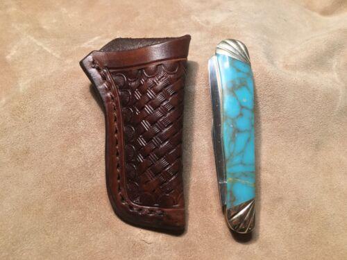 "Custom Leather Sheath w//basketweave for 4/"" Trapper"
