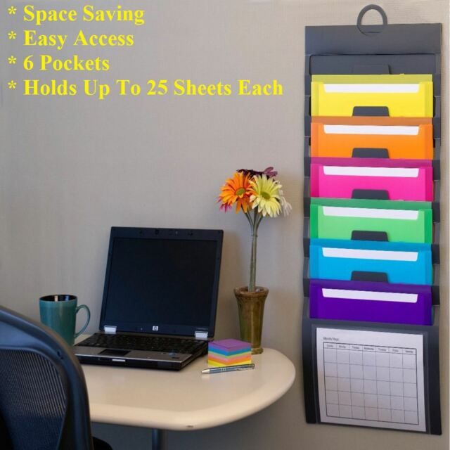 Hanging Wall File Organizer Office Magazine Holder Storage 6 Removable Pockets