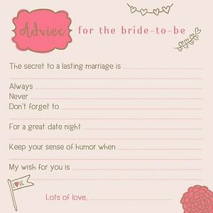 image is loading cute advice for bride wedding bridal shower games