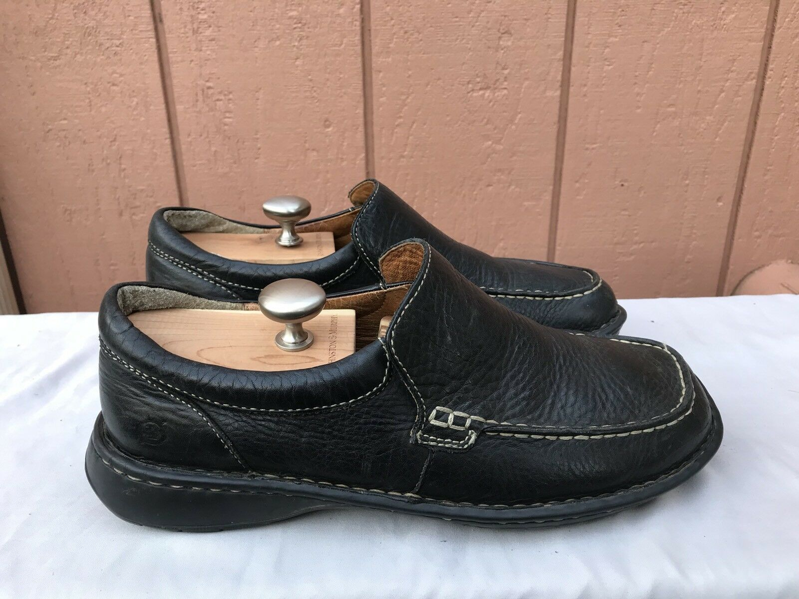 RARE BORN Men's Black Leather Slip On Loafers Comfort Shoes Moc Size US 10.5 A1