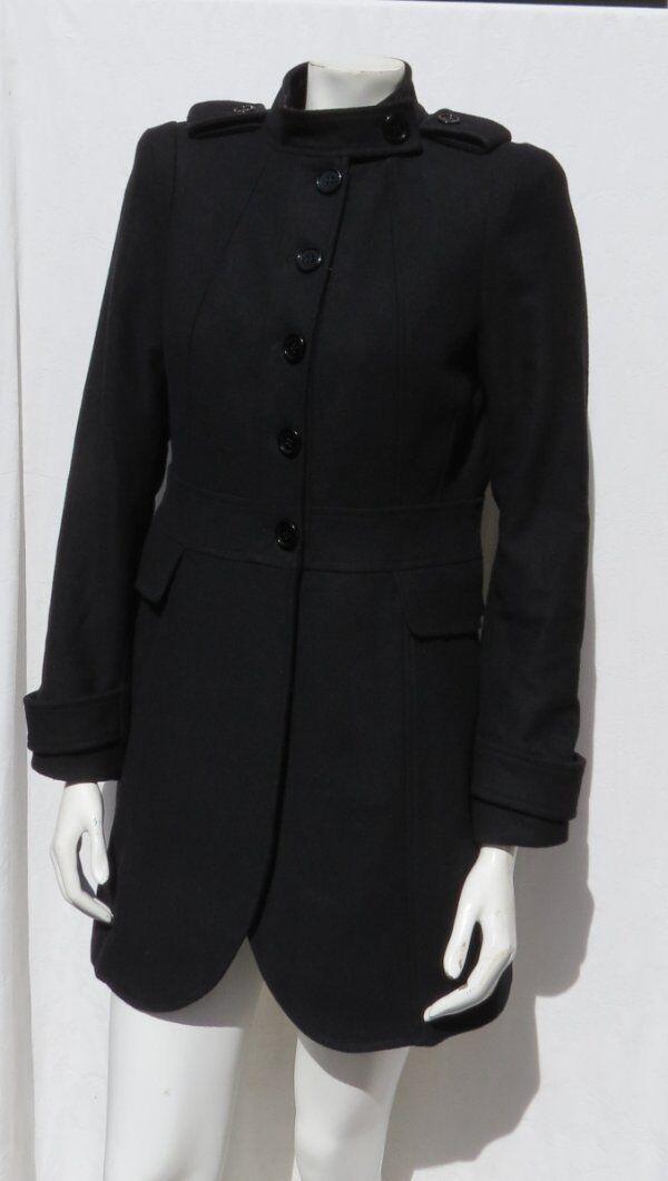Zara Einfach Damen Schwarz Gefilzt Wolle Angepasst Mantelgröße US Eu M Passt S