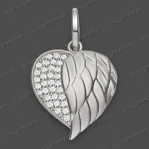 Engelsflügel Zirkonia Herz Engel Flügel Anhänger mit Kette Echt Silber 925 Neu