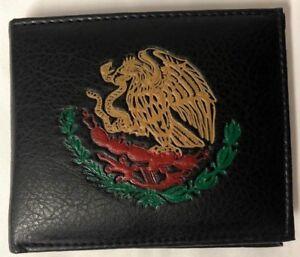 Mexico Eagle Flag Bi-Fold Men/'s Leather Black Wallet