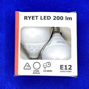 IKEA RYET  LED bulb E12, 200 lumen, globe opal BRAND NEW- ( 2 PACK )