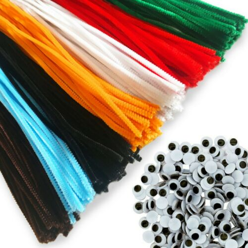 900pcs Chenille Stems Pipe Cleaners /& Wiggle Googly Eyes Art Craft