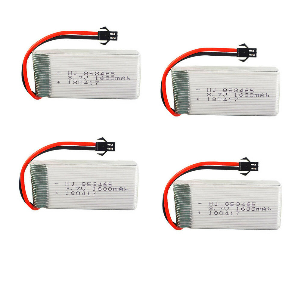 4Pcs 3.7V 853465 1600mAh 20C LiPo Battery High Rate For Quadcopter Drone SM Plug