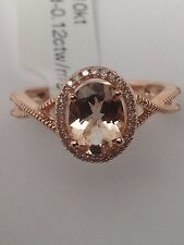 New 10K Rose Gold Oval Shape Morganite and 0.12ct twt Diamond Pave Ring Size 7