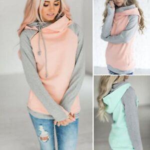 New-Women-Long-Sleeve-Hoodie-Sweatshirt-Sweater-Hooded-Jumper-Coat-Pullover-Tops