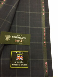 Made In England Black Window Pane Check Super 120/'s Woolmix Suit Fabric
