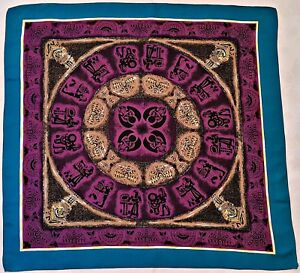 VINTAGE-EGYPT-ART-KALEYDOSCOP-AQUA-BLUE-PURPLE-BROWN-IVORY-SILK-34-034-SQUARE-SCARF