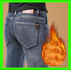2020 Pantalones Vaqueros Calidos Para Hombre De Invierno Jeans Termicos Ebay