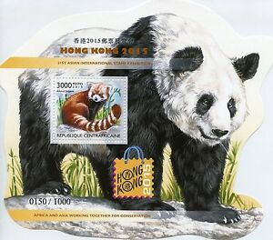 Central African Republic 2015 MNH Hong Kong 31st Int Exhib 1v S/S Pandas Stamps