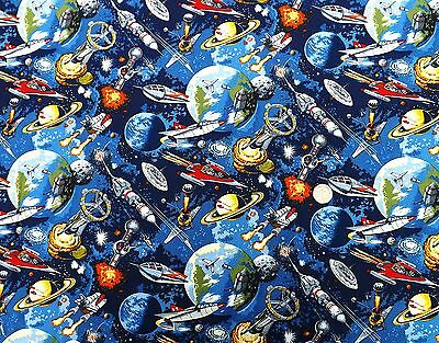 Space Odyssey Space Ships fabric 74cm x 112cm Nutex 89050-1 100% Cotton