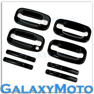 00-06 Chevy Tahoe+Suburban Gloss Shiny Black 4 Door Handle+W/O PSG KH Cover Kit