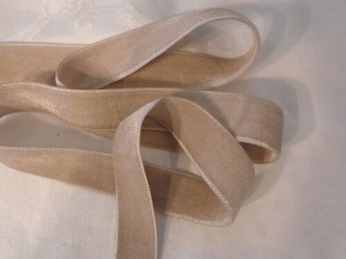 """1/"""" DOUBLE FACE VELVET RIBBON CHAMPAGNE BEIGE MADE IN JAPAN 85/% RAYON"""