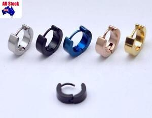 fdefb88b99e9c Details about 1 Pair Surgical Steel Cool Mens Ear Studs Hoop Earrings Black  Blue Gold Silver