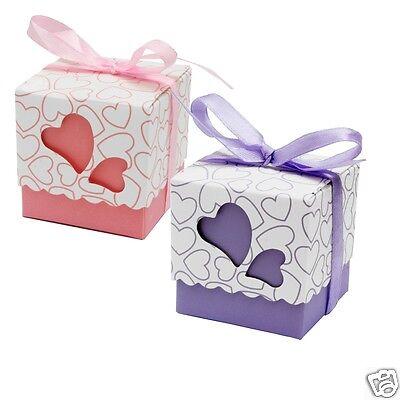 100 Amore Cuore Matrimonio Favore Candy Scatole Scatole Regalo Festa + Nastri, Uk Venditore-