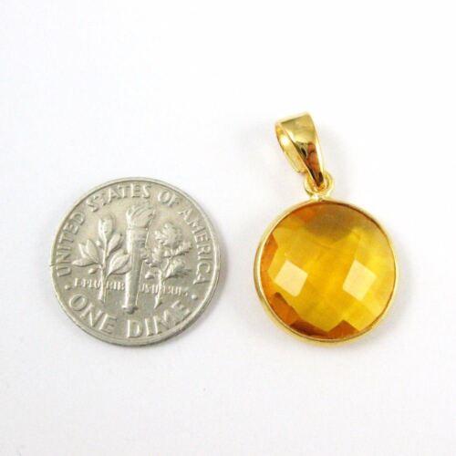Citrine Quartz Bezel Gem Round Coin Pendant with Bail-22K Gold plated Silver
