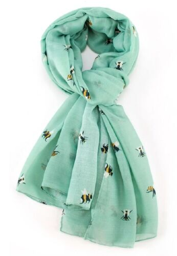 Bee Scarf Mint Green Busy Bees Scarfs Wrap Shawl Scarves Summer Ladies Gift New