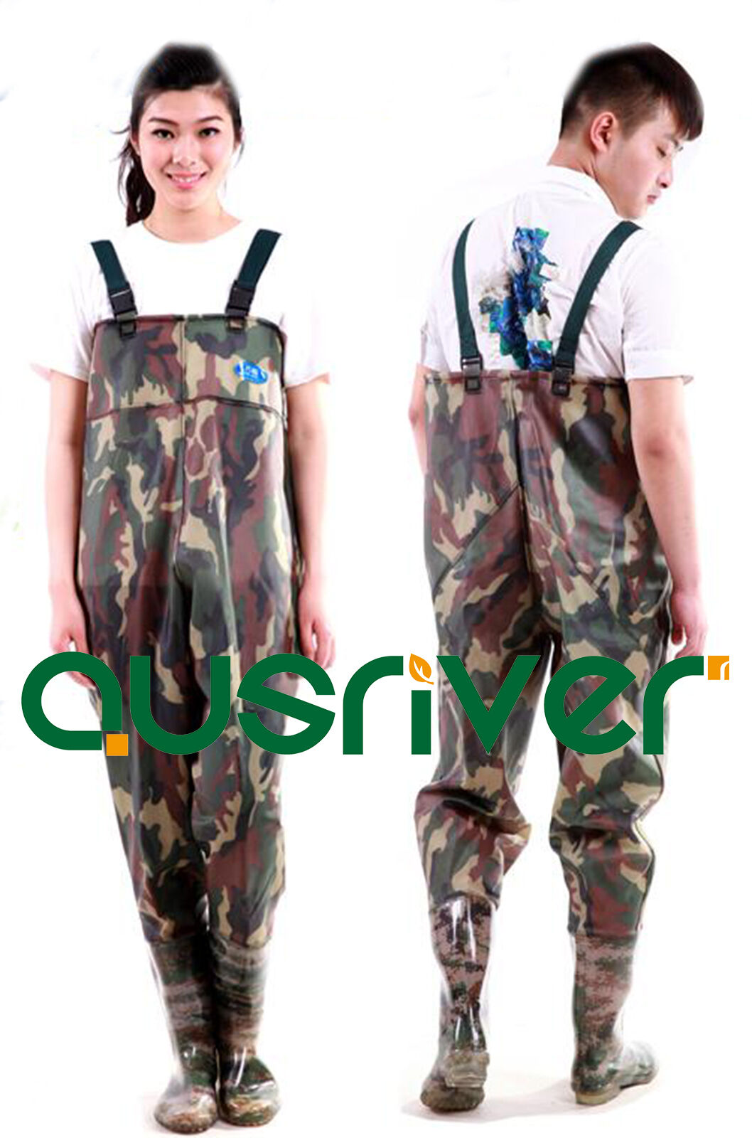 Premium Camo 0.75 PVC Glue Rubber  Chest Fishing Wader Waterproof Wader Boots  cheap in high quality