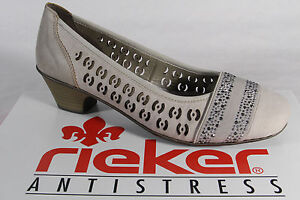 Rieker Slippers Ballerina Low Shoes Court Shoes Soft Leather Insole, Beige New