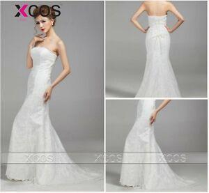 Cheap wedding dresses strapless sleeveless mermaid bridal for Cheap wedding dresses ebay