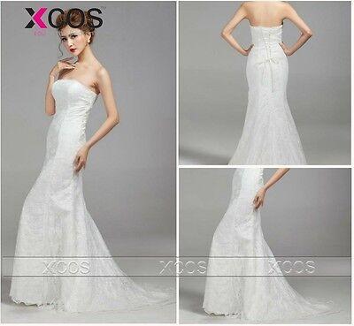 Cheap Wedding Dresses Strapless Sleeveless Mermaid Bridal Wedding Dress S M L XL