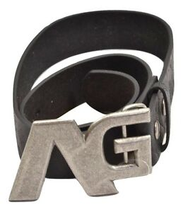 Analog STAFF BELT Black Silver Buckle 100% Leather Removable Buckle Men's Belt
