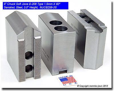 "8"" Steel Soft Jaws 1.5mm x 60° Serrated for B-208 Type Lathe Chucks (3.0"" HT)"