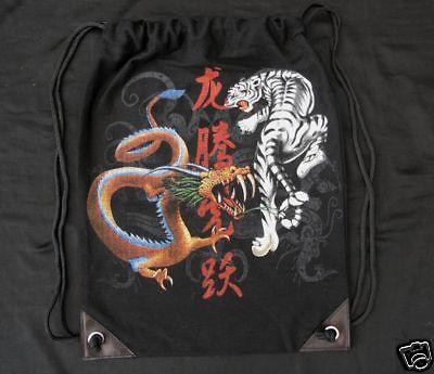 Nuovo 50x38cm Zaino Tigre Nero Bianco Marrone Drago Bustina Sacchetto Sport-mostra Il Titolo Originale