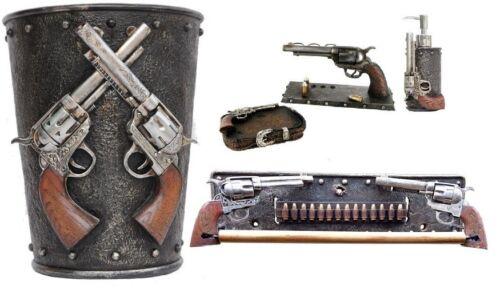 5PC DOUBLE GUN BATHROOM SET WESTERN REVOLVERS