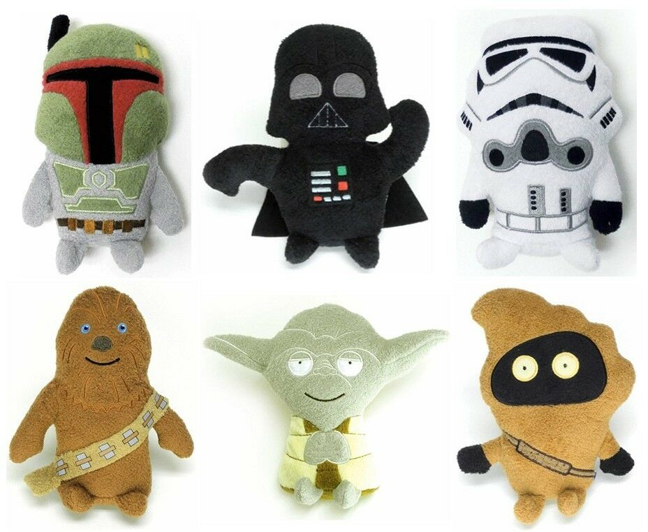 6 Star Wars Footzeez Stuffed Plush Toys Vader Storm Trooper Chewbacca Jawa Yoda
