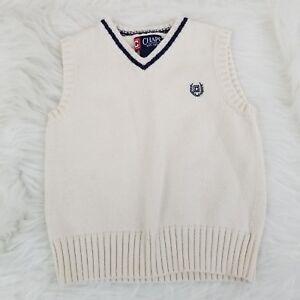 Chaps-Boys-Sweater-Vest-Size-3T-Sleeveless-V-Neck-Varsity-Prep-Off-White-Navy