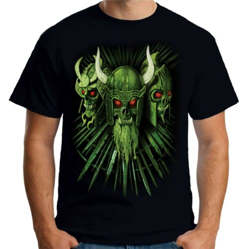 Velocitee Mens T-Shirt Viking Skulls Fierce Evil Goth Gothic A22292