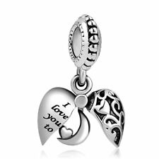 Heart Love Bracelet Charm Sliding Bead I Love You to the Moon and Back SILVER