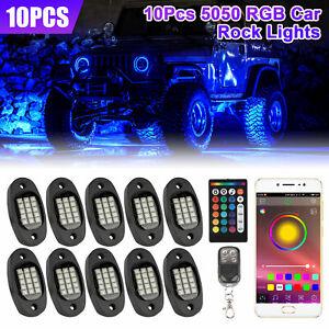 10-Pods-RGB-LED-Rock-Lights-Offroad-ATV-Underbody-Wireless-Music-Bluetooth-APP